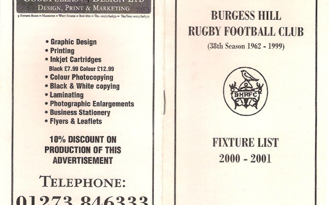 Burgess Hill RFC 2000/2001 Fixture List